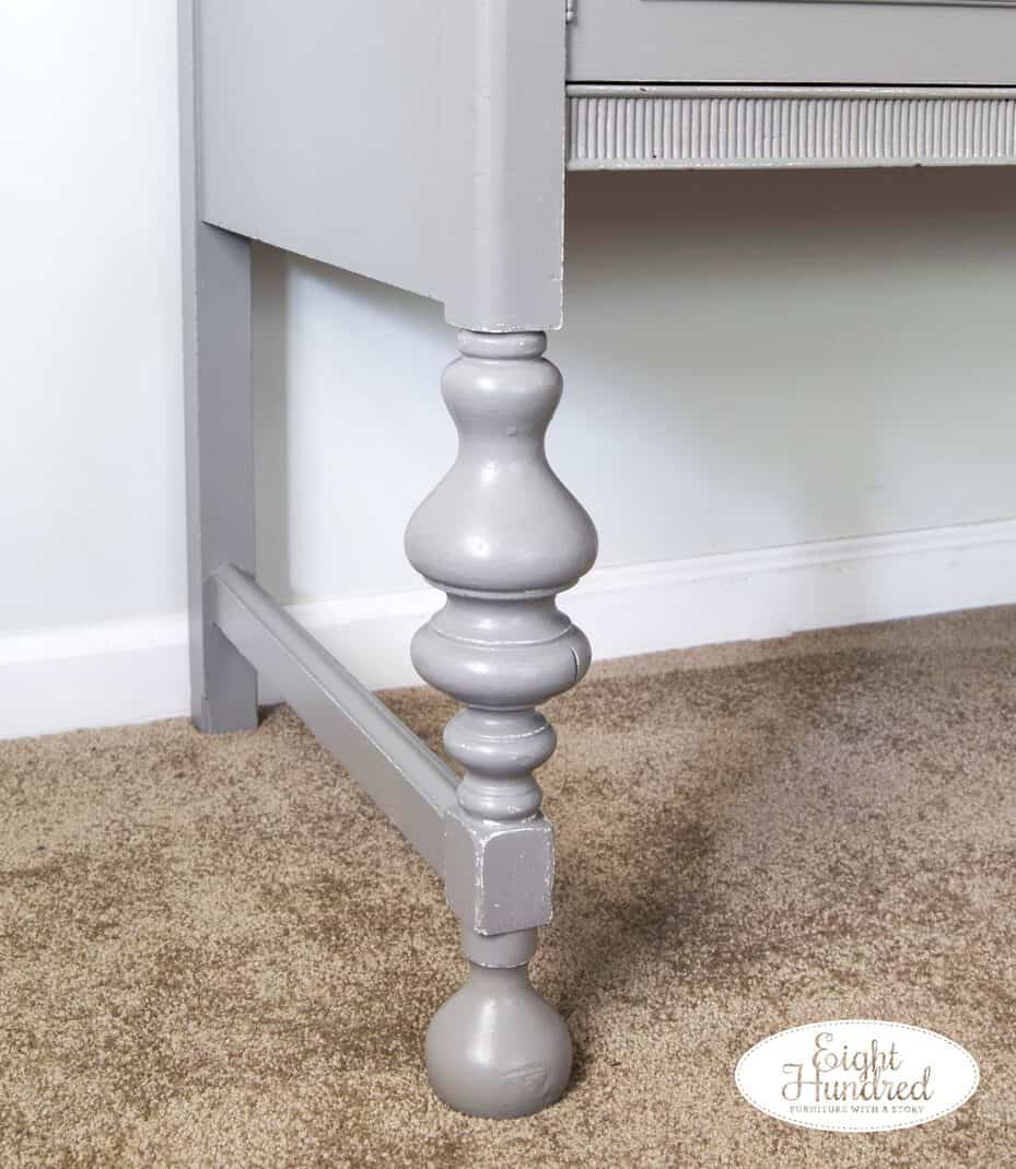 Buffet leg painted in Perfect Gray by General Finishes and sealed in High Performance Topcoat