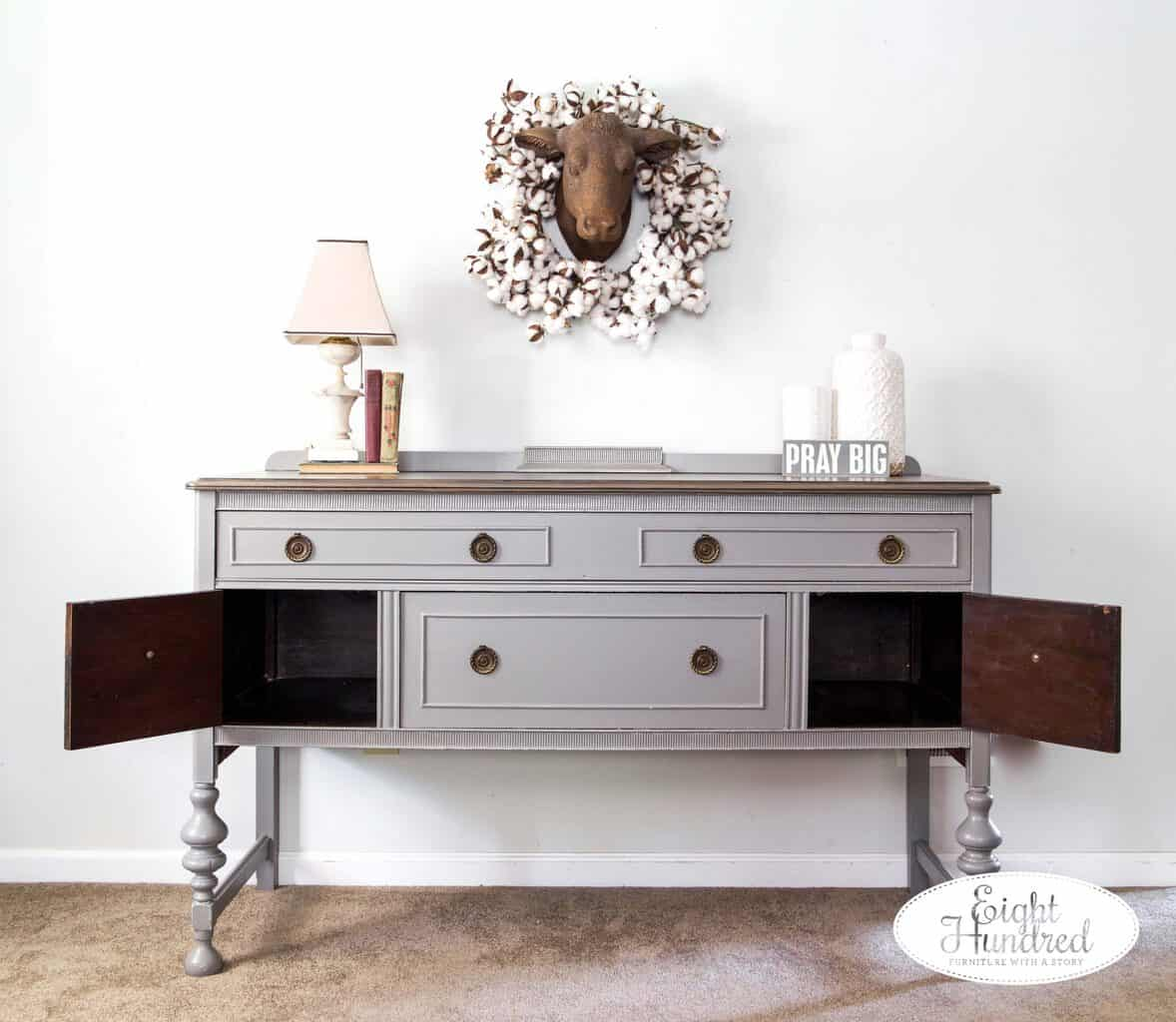 Inside of buffet in Perfect Gray Milk Paint by General Finishes by Eight Hundred Furniture
