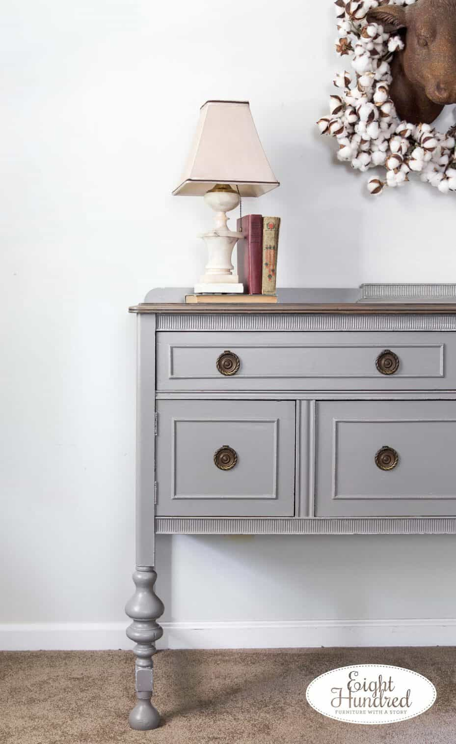 Corner of buffet in Perfect Gray Milk Paint by General Finishes