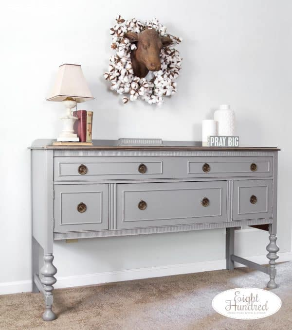 Side view of buffet in Perfect Gray Milk Paint by General Finishes by Eight Hundred Furniture