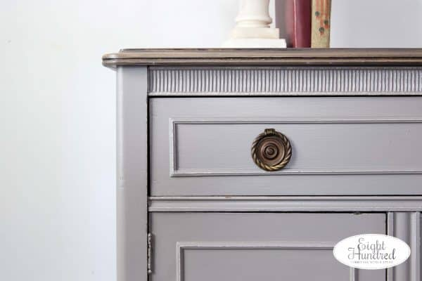 Corner of buffet in Perfect Gray by General Finishes Milk Paint by Eight Hundred FUrniture
