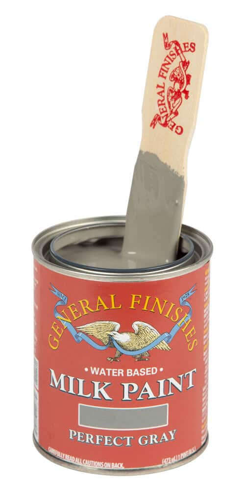Open can of Perfect Gray Milk Paint by General Finishes