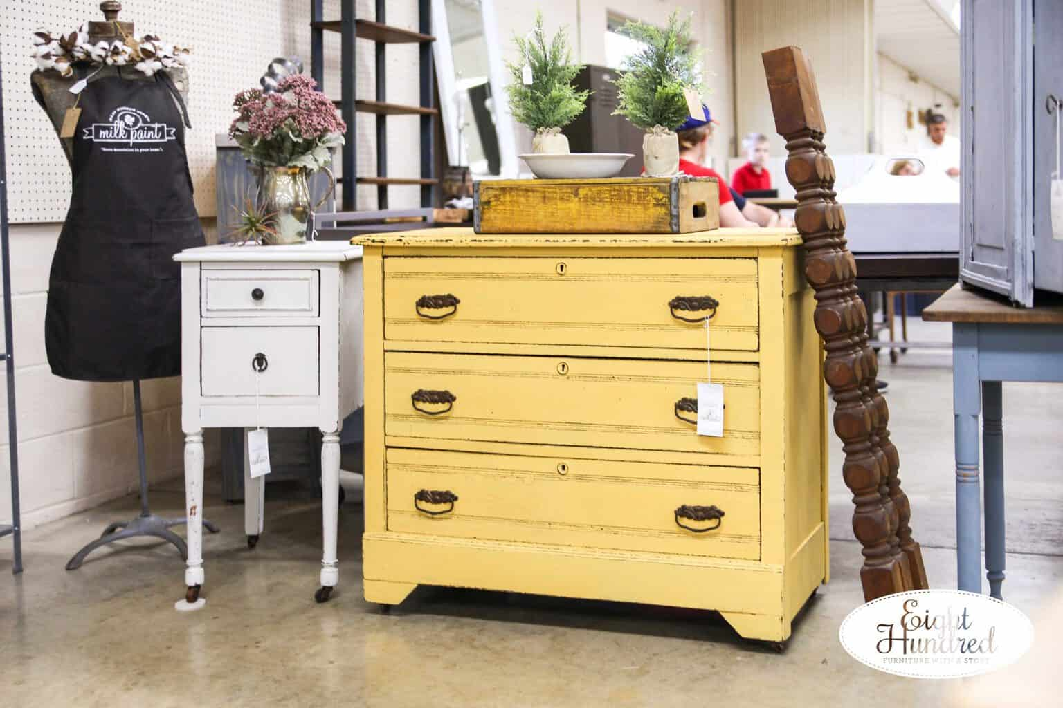 Mustard Seed Yellow Milk Painted Dresser and Grain Sack Milk Painted Nightstand
