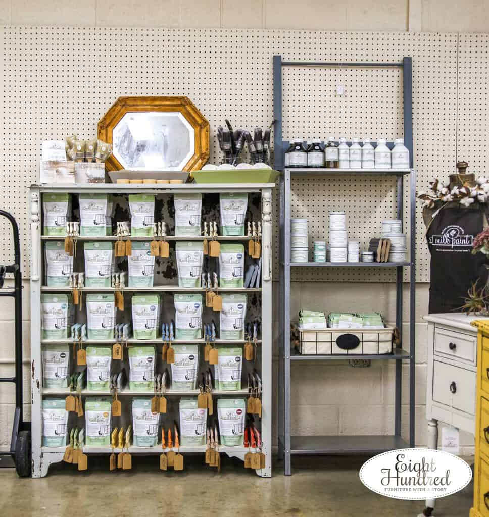 Display of Miss Mustard Seed's Milk Paint Products