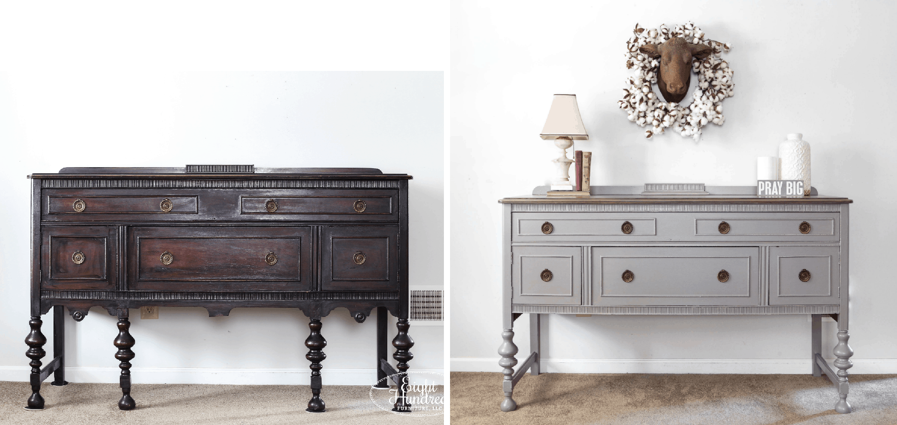 Before and After Shot of the Perfect Gray Buffet