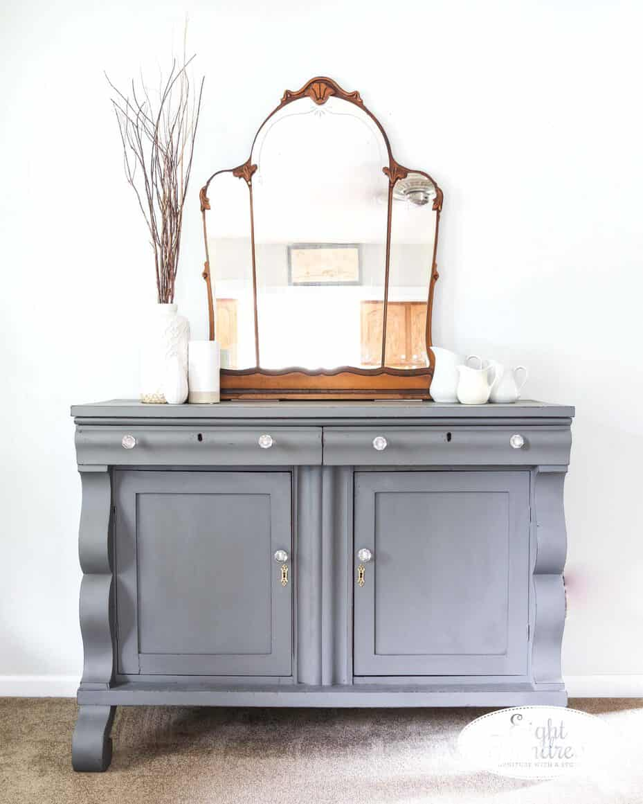 Front view of empire buffet in Trophy by Miss Mustard Seed's Milk Paint sealed with Hemp Oil 2