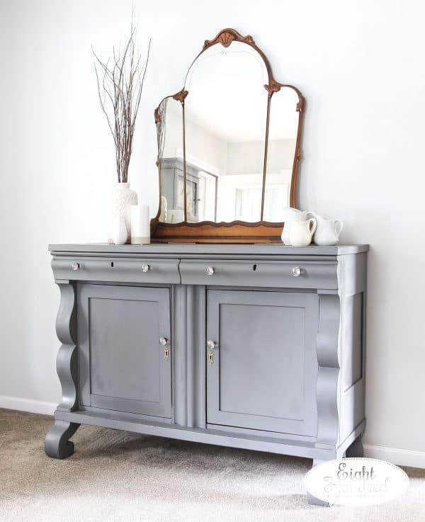 Side view of empire buffet in Trophy by Miss Mustard Seed's Milk Paint sealed with Hemp Oil
