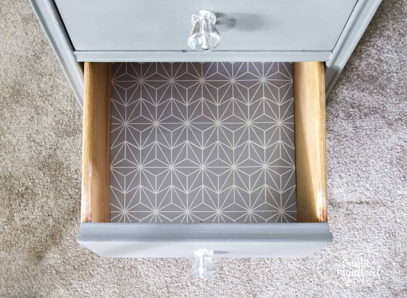 Lined drawers on Trophy nightstand