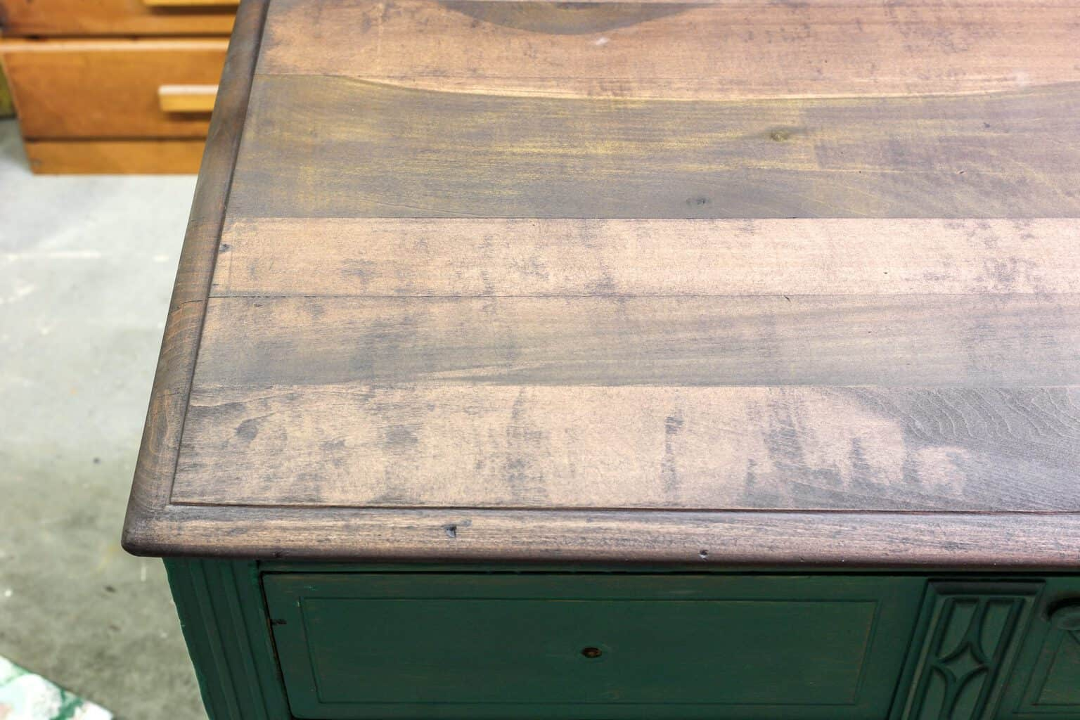 Stained top of depression era dresser