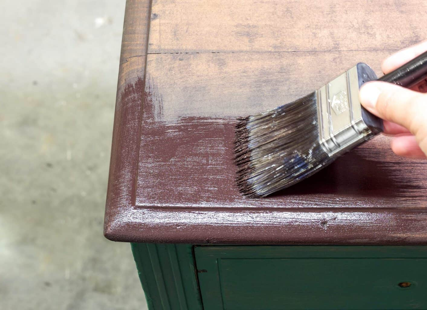 Painting Dark Chocolate on the top of the dresser