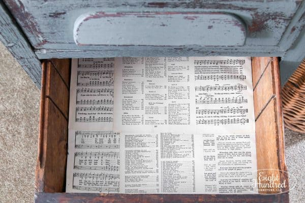 Sheet music lined drawer