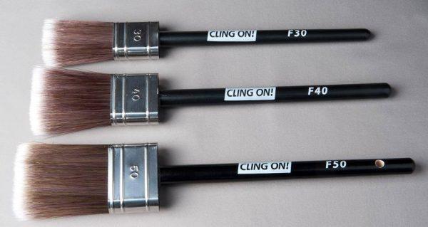 Horizontal shot of flat cling on brushes