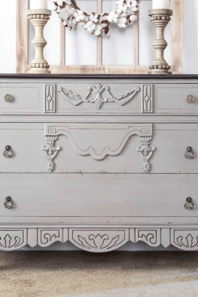 Dresser painted in Annie Sloan's French Linen Chalk Paint, Furniture Wax by Miss Mustard Seed, Antiquing Wax