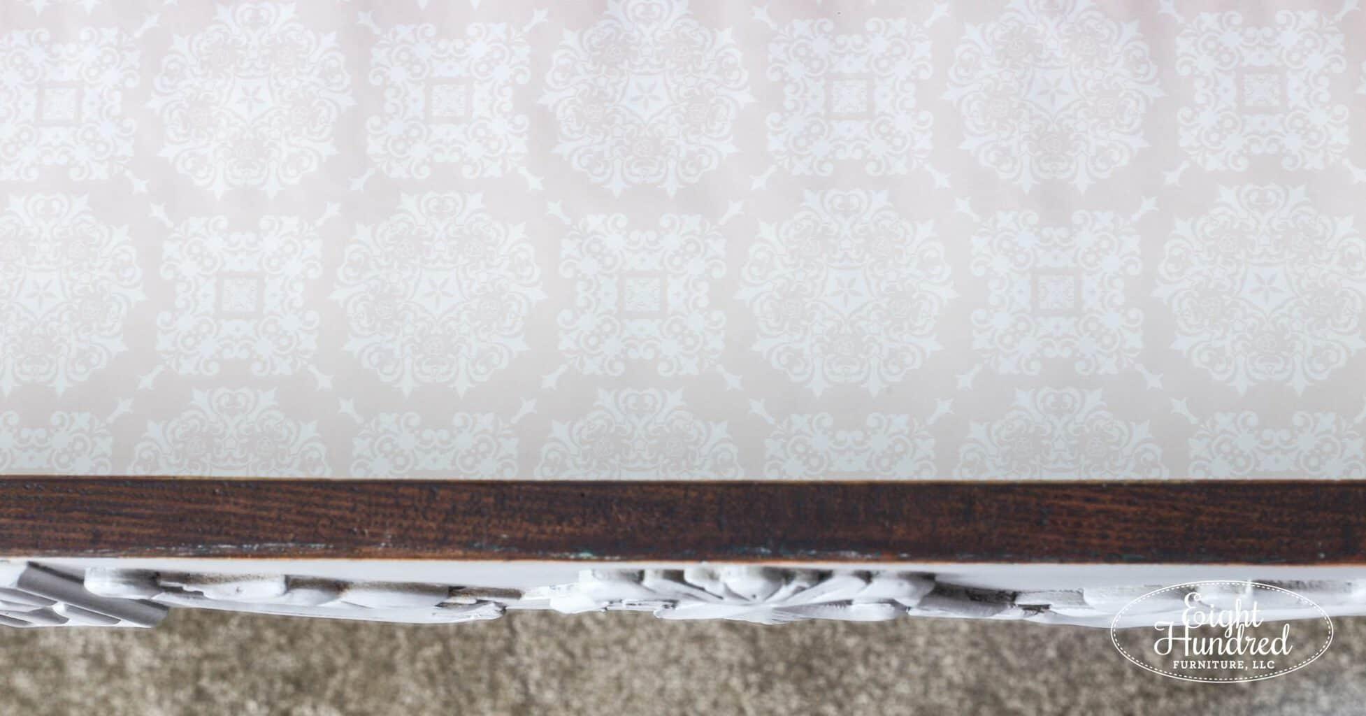 Pink drawer liner in French Linen dresser