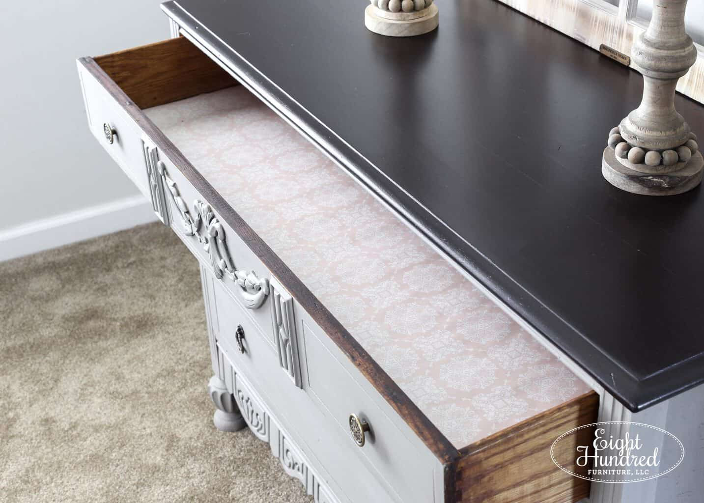 Lined drawers on French Linen Chalk Painted dresser
