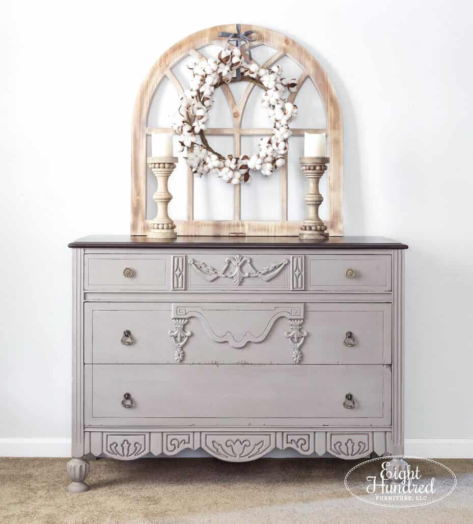 Front view of dresser in Annie Sloan's French Linen Chalk Paint