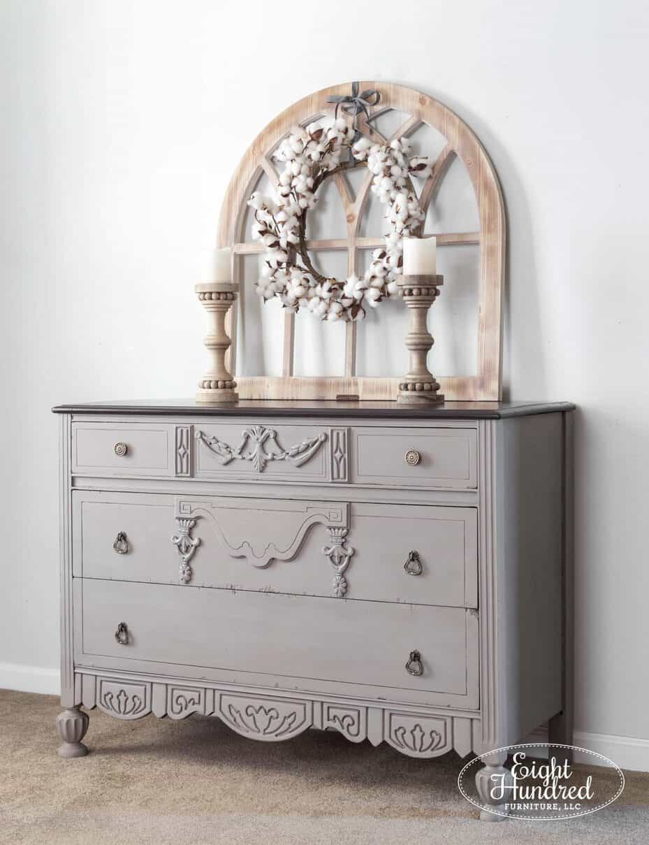 Vertical shot of side of dresser painted in Annie Sloan's French Linen Chalk Paint