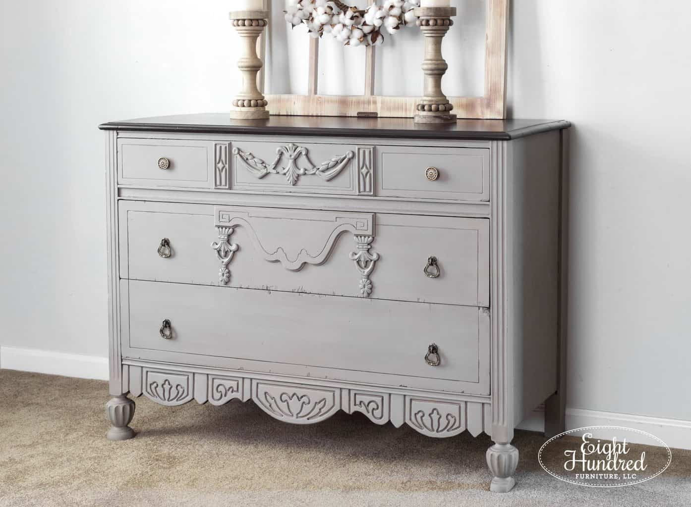 Side view of dresser in French Linen Chalk Paint by Annie Sloan