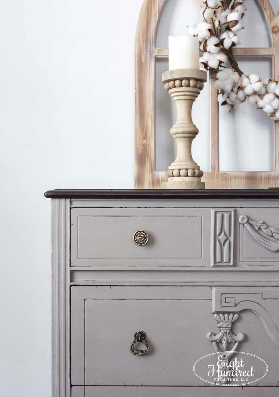 Hardware on French Linen Chalk Painted dresser