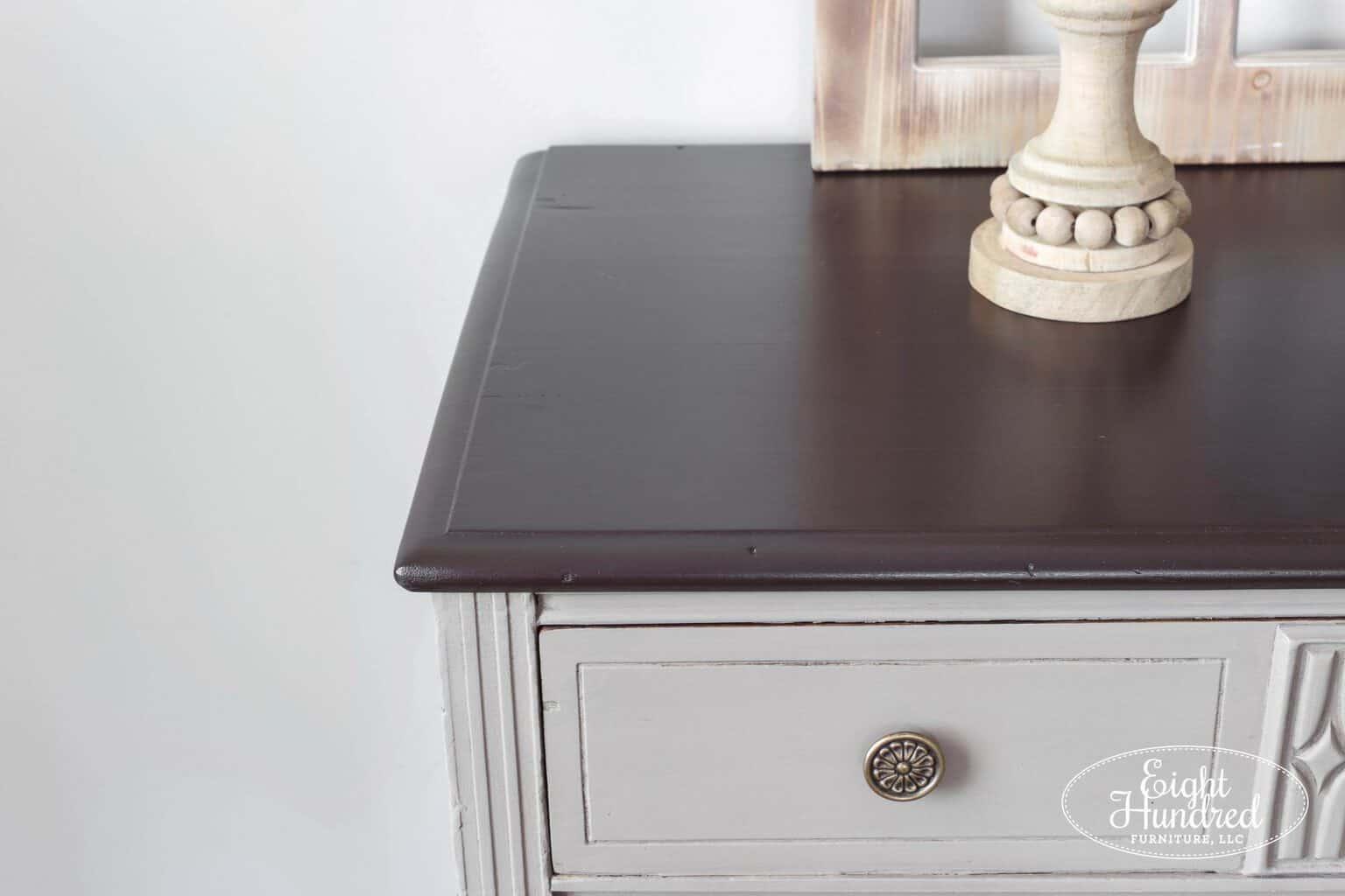 Corner of top of dresser in Dark Chocolate Milk Paint with Satin High Performance Topcoat