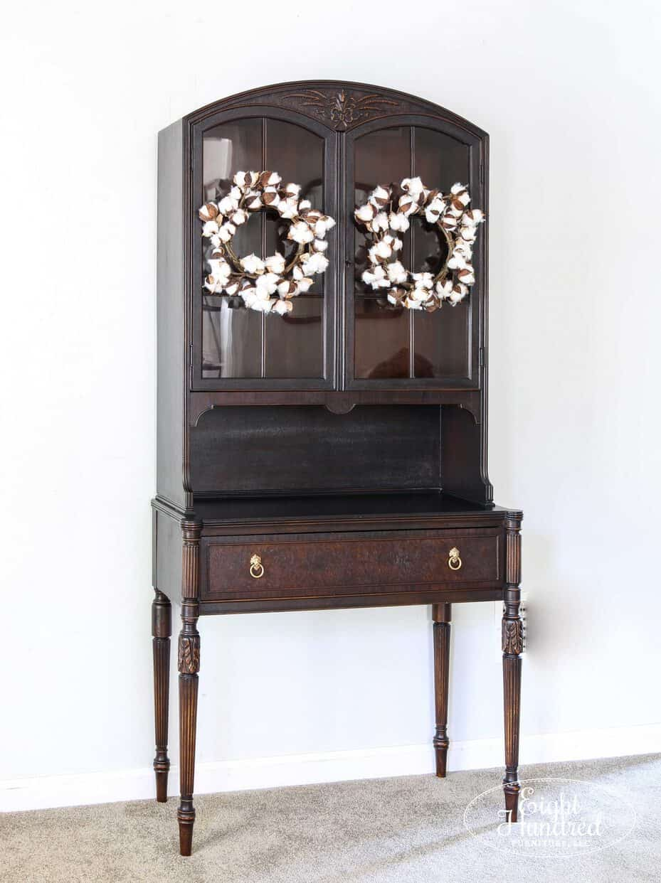 VanSciver, hutch, Lamp Black Milk Paint, General Finishes, Eight Hundred Furniture, Dry Brush, High Performance Topcoat in Satin, Lion's Head Ring Pulls