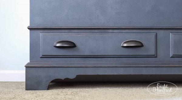 Cup pulls on cedar chest painted in Artissimo sealed with Hemp Oil and Zinc Wax by Eight Hundred Furniture
