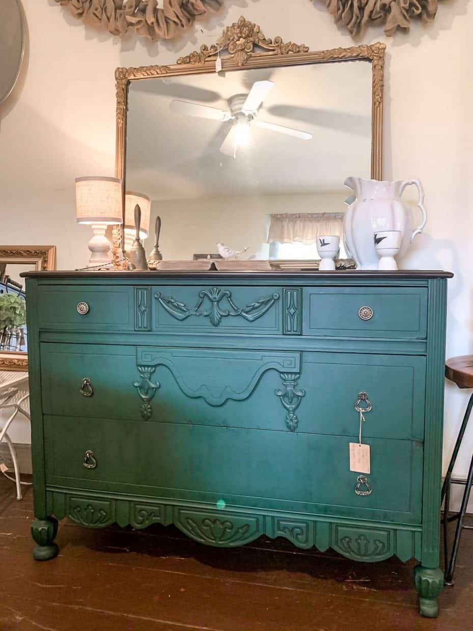 Dresser painted in Amsterdam Green Chalk Paint
