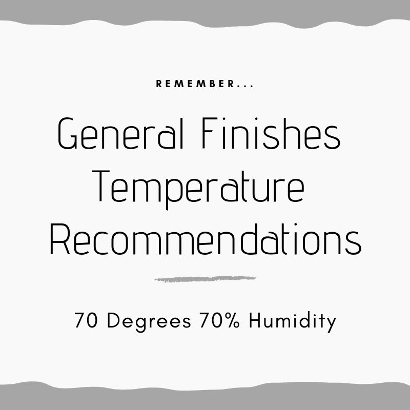 70 degrees 70 percent humidity, general finishes, temperature recommendations