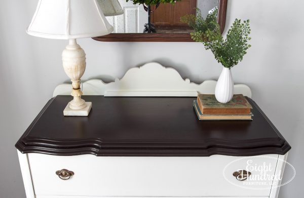 Top of baby jacobean buffet in general finishes dark chocolate milk paint