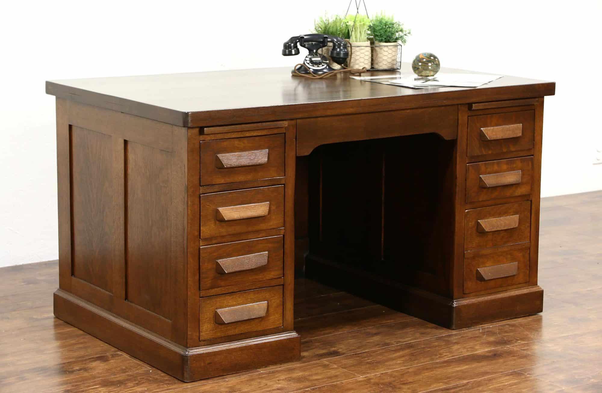 Antique Oak Executive Desk