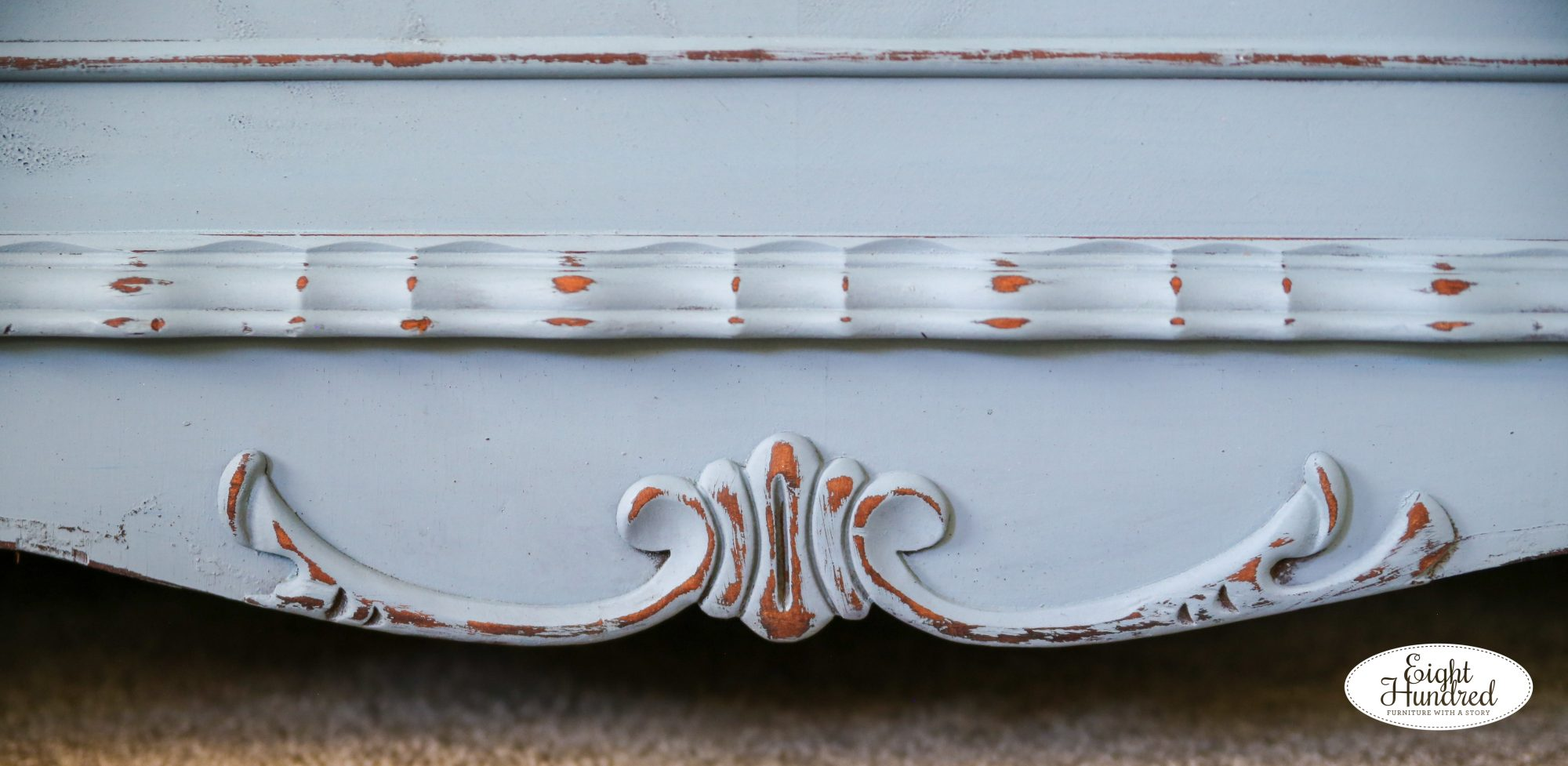 Trim on bottom of cedar chest painted in Bergere Milk Paint