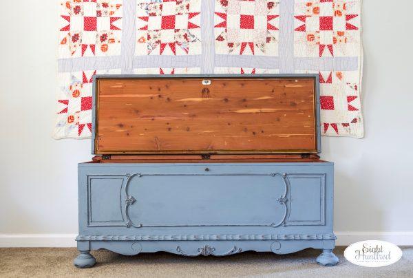 Lane cedar chest with top open
