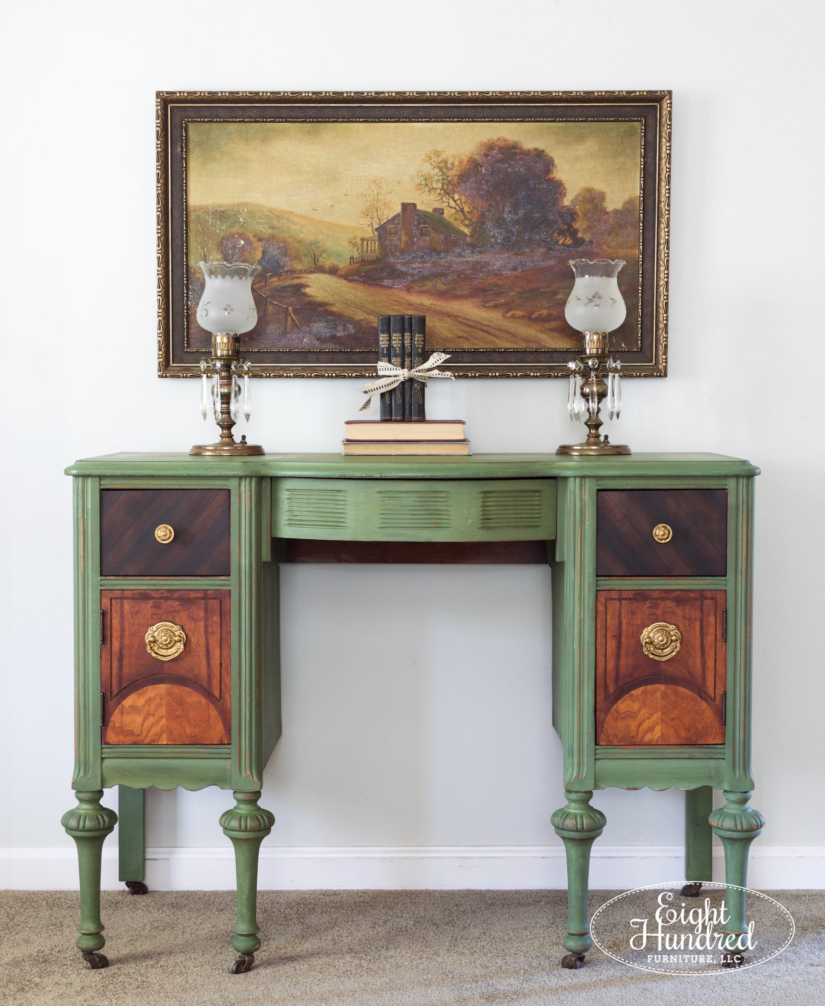 Makeup vanity painted in boxwood by miss mustard seed's milk paint by eight hundred furniture
