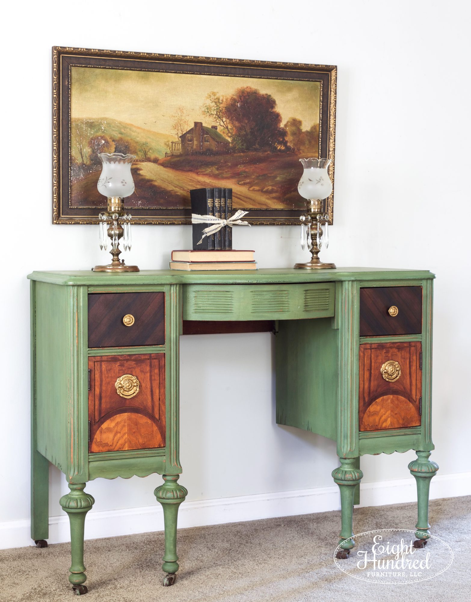 Side view of makeup vanity painted in Boxwood by Miss Mustard Seed's Milk Paint