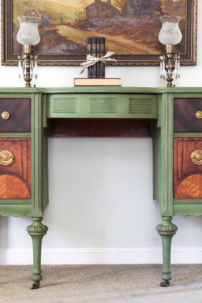 Makeup vanity in Boxwood Milk Paint sealed in Furniture Wax and Hemp Oil by Miss Mustard Seed's Milk Paint