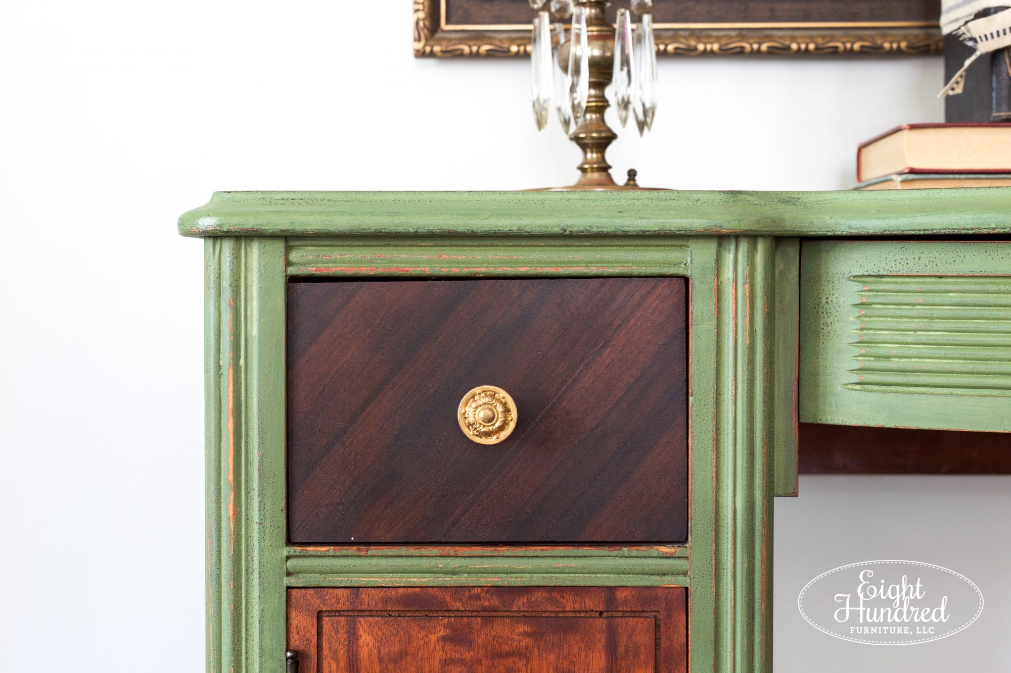 Gorgeous veneer on drawer sealed with Hemp Oil on Boxwood makeup vanity