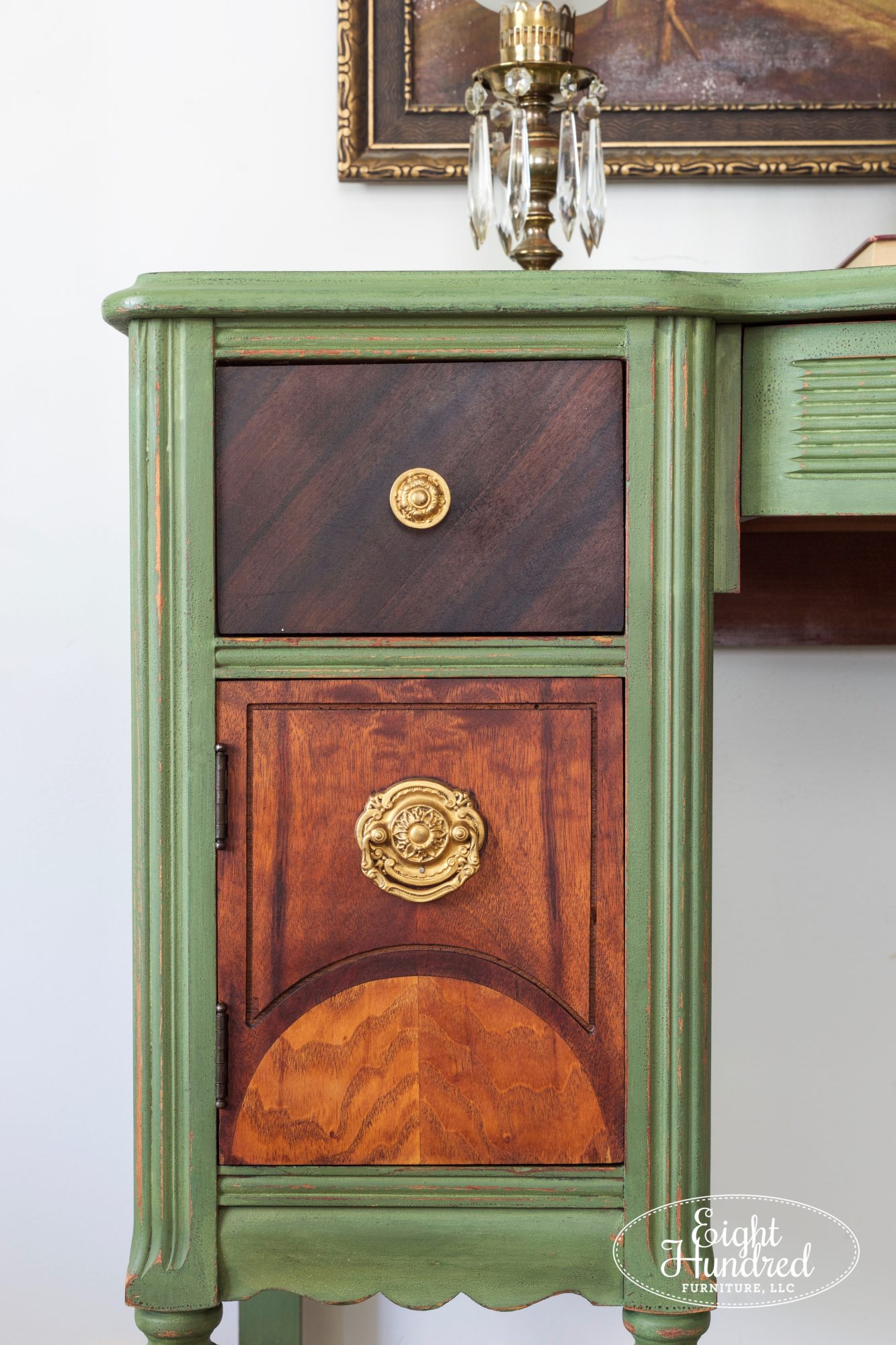 Doors and drawers finished in Hemp Oil and Furniture Wax on Boxwood Milk Painted Makeup Vanity
