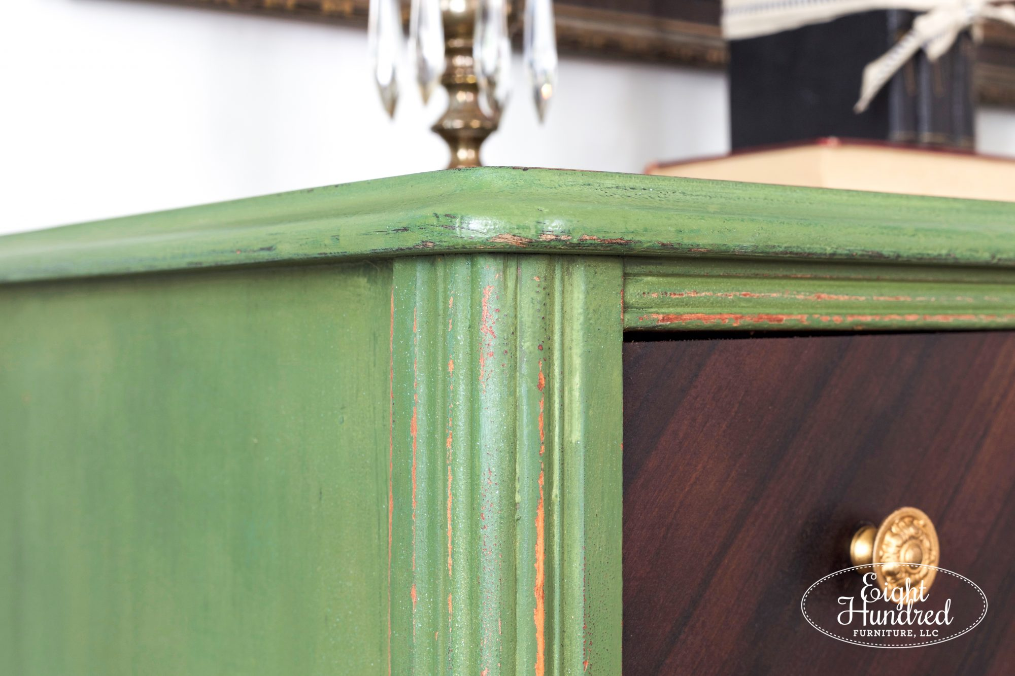 Gorgeous texture created with Boxwood Milk Paint by Eight Hundred Furniture