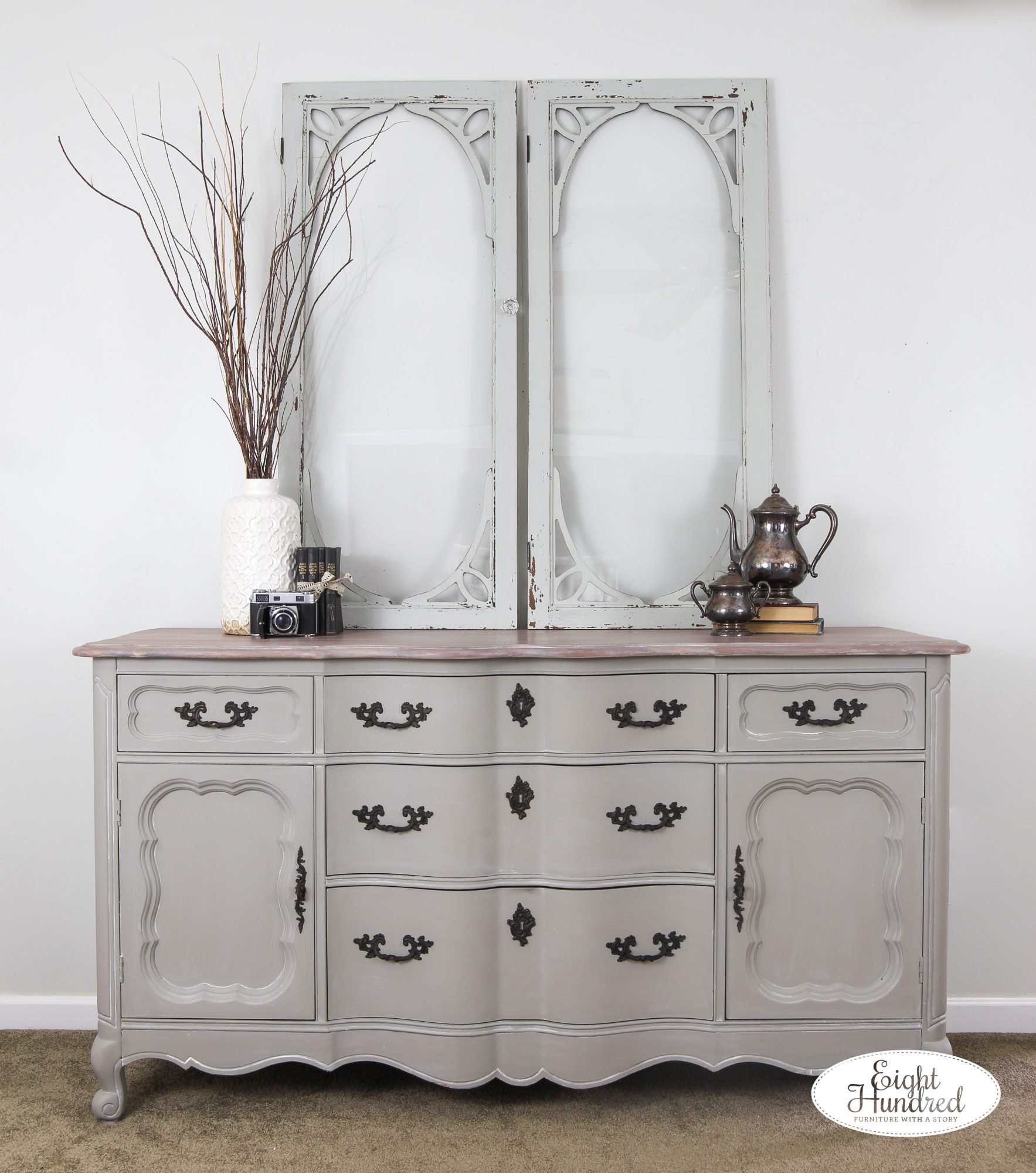 High performance topcoat in satin, whitewash glaze effects, graystone water based wood stain, white wax by miss mustard seed, french provincial buffet, eight hundred furniture