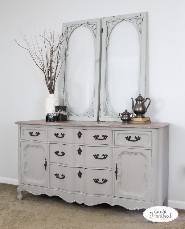 Side view of french provincial buffet in empire gray chalk style paint by general finishes sealed in white wax by miss mustard seed, eight hundred furniture