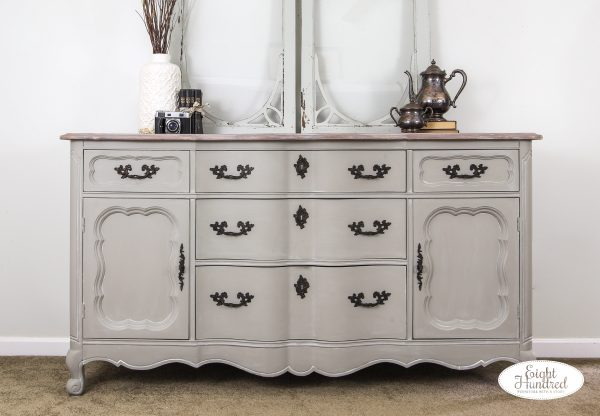 French provincial buffet, empire gray chalk style paint, general finishes, white wax, miss mustard seed, rub n buff, eight hundred furniture