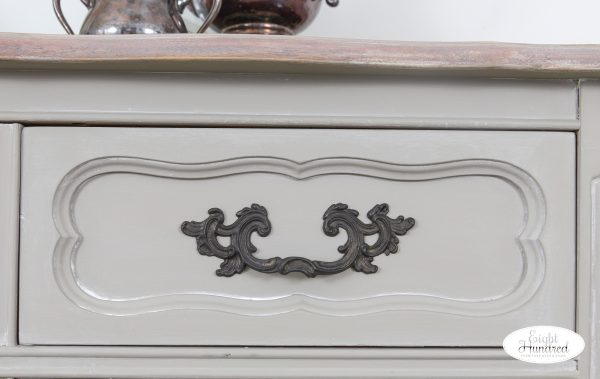 Onyx Rub N Buff hardware on French Provincial buffet in Empire Gray chalk style paint by general finishes and white wax by miss mustard seed