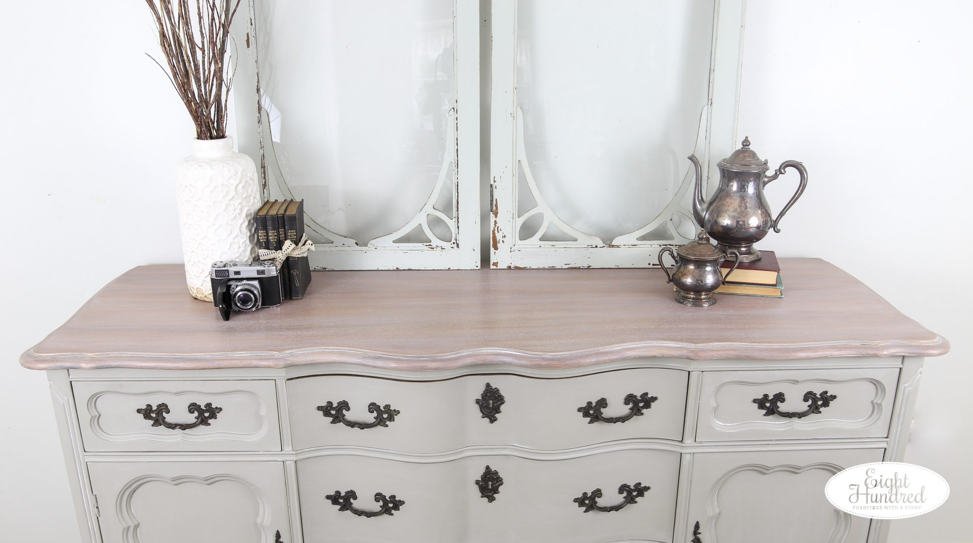 High performance topcoat in satin, whitewash glaze effects, graystone water based wood stain, white wax by miss mustard seed, french provincial buffet