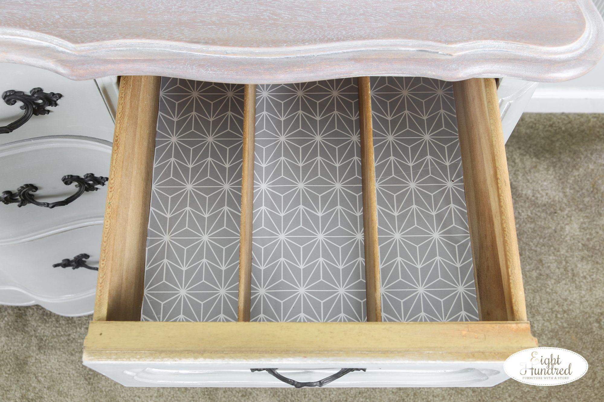 Lined silverware drawer of French Provincial buffet in empire gray chalk style paint by general finishes