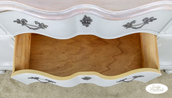 Drawer of French Provincial buffet in empire gray chalk style paint by general finishes