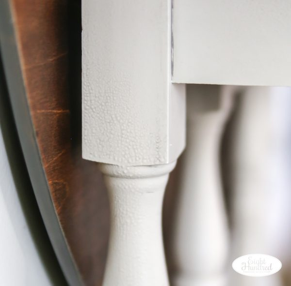 Close up of gatored texture on gate leg table painted in Reverent Gray Milk paint by General Finishes
