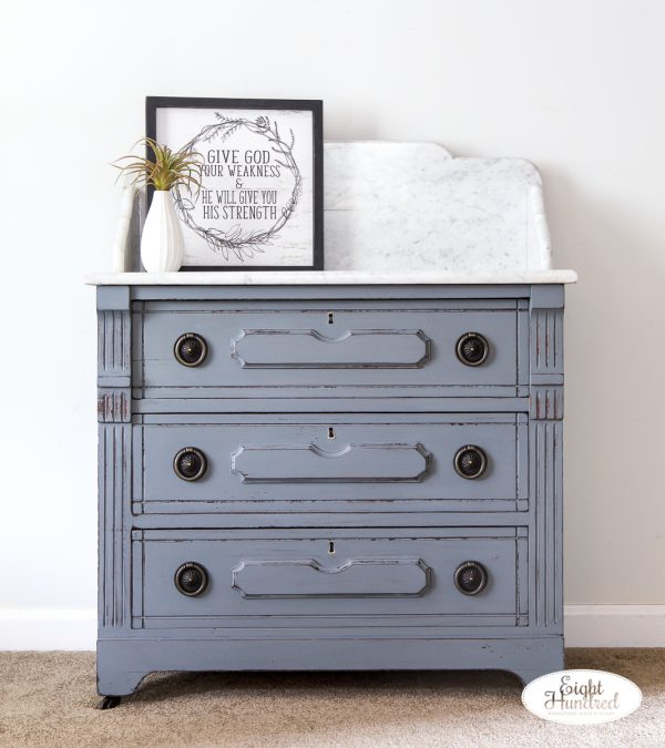 Front view of marble top washstand in miss mustard seed's milk paint by eight hundred furniture