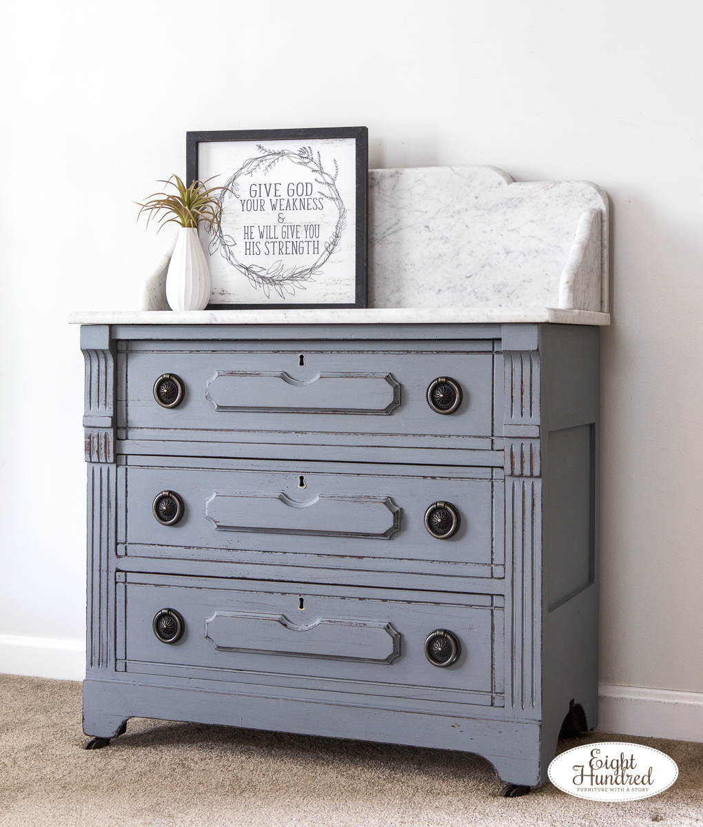Side view of marble top washstand in miss mustard seed's milk paint by eight hundred furniture