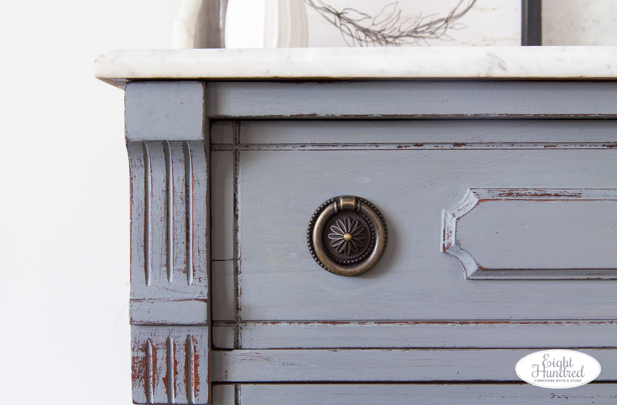 Top corner and ring pull on marble topped washstand painted in trophy and bergere sealed with hemp oil by miss mustard seed's milk paint, eight hundred furniture