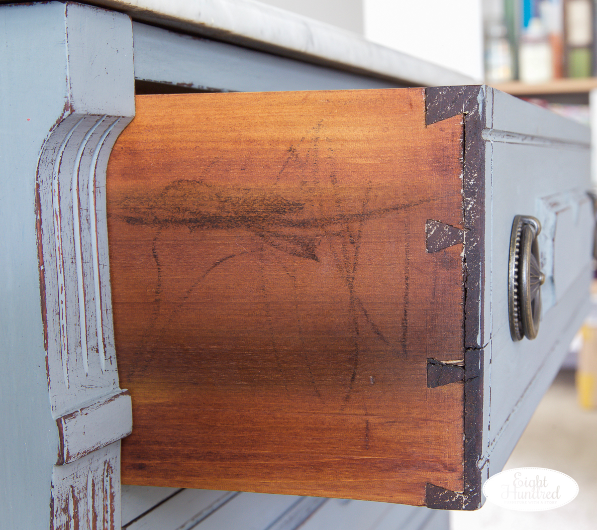 Hand cut dovetails on marble top washstand in miss mustard seed's milk paint